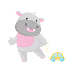 Cute adorable hippo playing with toy car, lovely behemoth animal cartoon character vector Illustration