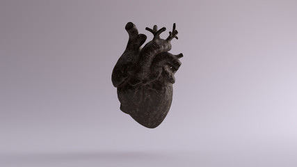 Old Dusty Iron Anatomical Heart 3d illustration 3d render