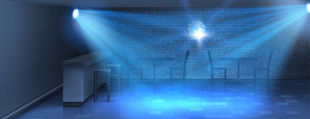 Vector realistic background with empty dance floor in nightclub. Modern disco dance-hall in blue shining lights, stage in bar for dancing and parties with mirror ball on ceiling, interior inside