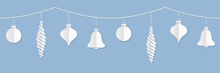Vector illustration of a border of white paper Christmas ornaments against a blue background. Can be attached end to end seamlessly to make longer strings.