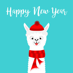 Happy New Year. Llama alpaca baby face neck. Santa Claus red hat, scarf. Cute cartoon funny kawaii character. Merry Christmas. Greeting card print. Flat design. Blue background.