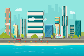 City buildings from sea beach view vector illustration, flat cartoon high city skyscraper buildings on seafront, modern town landscape, urban cityscape or shore coast cityscape