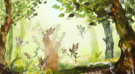 Fairy forest, trees, fog, flying fairies
