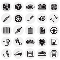 Car parts and repair icon set on circles background for graphic and web design, Modern simple vector sign. Internet concept. Trendy symbol for website design web button or mobile app.