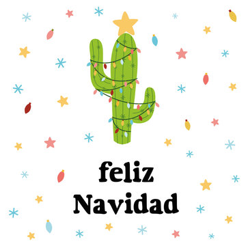 Merry Christmas banner. Happy cactus in a Christmas garland stars snow. Cute vector greeting card. Title in Spanish