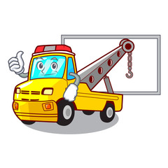 Thumbs up with board Cartoon tow truck isolated on rope