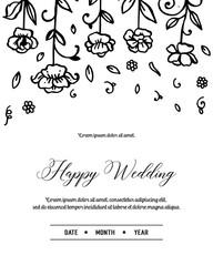 Floral Wedding Invitation elegant invite hand draw