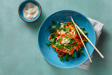 Vegetarian Thai noodles stone background copy space top view