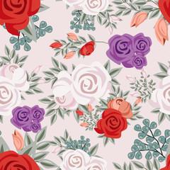 vintage flower watercolor ornament seamless pattern