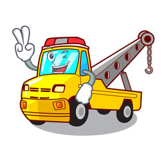 Two finger truck tow the vehicle with mascot