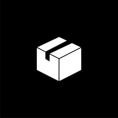 Package Delivery logo, Box icon on dark background