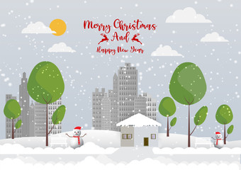 Winter season with snowflake and Snowman in town. Vector illustration of Merry Christmas
