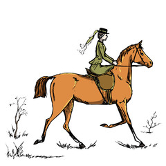 Horsewoman horse rider. English style historic horseback lady. Riding habit woman on red horse. Hand drawing vector vintage art on white. England fox hunting steeplechase tradition.