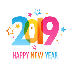HAPPY NEW YEAR 2019 colorful letters banner with star motifs