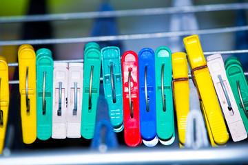 bright plastic clothespins