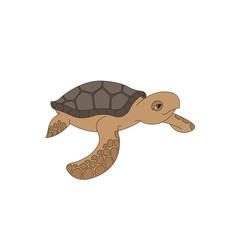Cute vector sea turtle illustration.