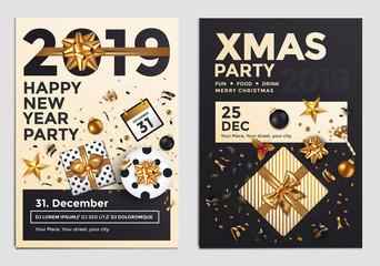 Christmas Party Flyer Design- golden design 2019