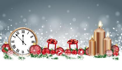 Gray Christmas Card Header Gray Snowflakes Baubles Gifts Clock Candles