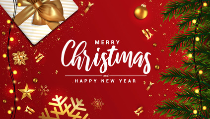 Holiday New year card - Merry Christmas on red background 3