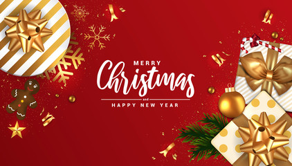Holiday New year card - Merry Christmas on red background 5