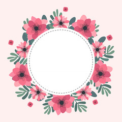 Floral greeting card and invitation template for wedding or birthday anniversary, Vector circle shape of text box label and frame, Pink flowers wreath ivy style with branch and leaves.