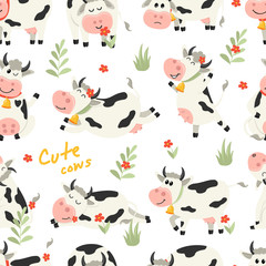 Seamless pattern with cute Cows character in various positions