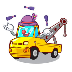 Juggling tow truck for vehicle branding character