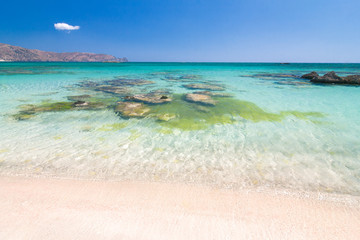 The Elafonissi Beach with crystal clear water, lagoon in the southwest of Crete island, Greece, Europe.