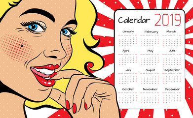 A calendar for 2019 in the style of pop art with a sexy blonde woman with squinted eyes and open mouth. Vector background in comic style retro pop art.