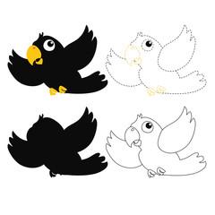 parrot worksheet vector design for kid
