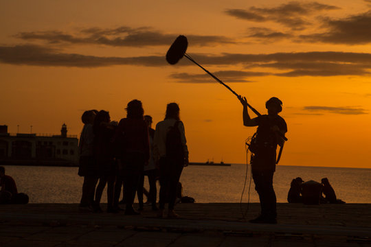 Film crew team filming movie scene