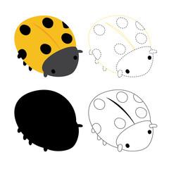 ladybug worksheet vector design for kid