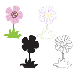 flower worksheet vector design
