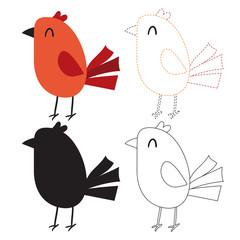 bird worksheet vector design for kid