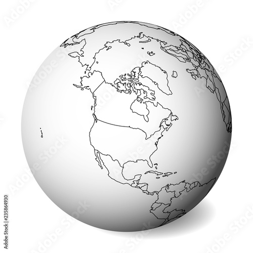 Map Of America 3d Vector.Blank Political Map Of North America 3d Earth Globe With Black