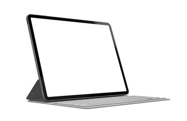 Tablet with keyboard case with blank screen template