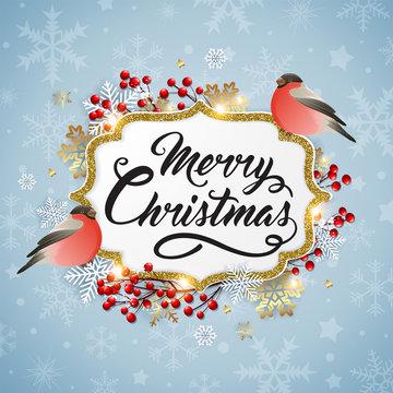Christmas background with bullfinch birds.