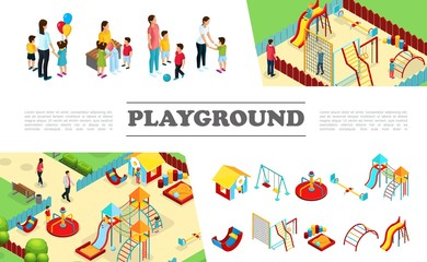 Isometric Kids Playground Elements Collection