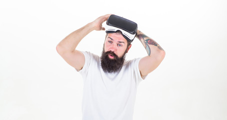 789cec9646a Man bearded hipster take off VR glasses white background. Impressed by  virtual reality. Guy