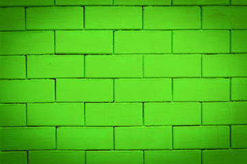 green brick wall texture background