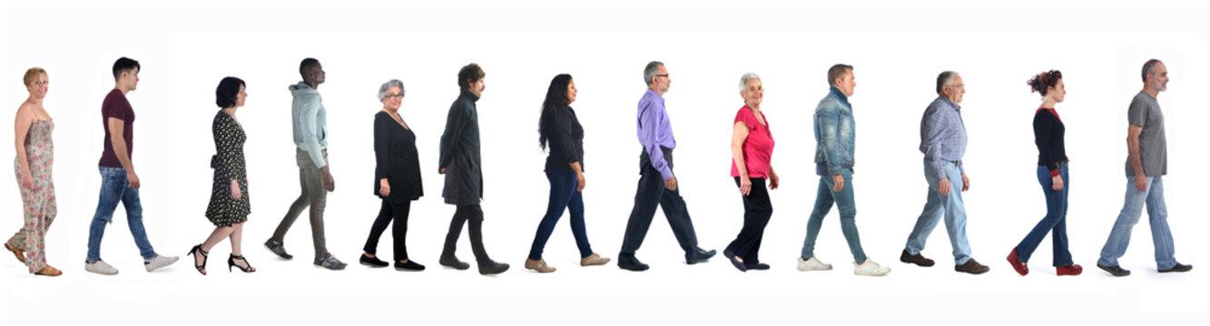 diverse people walking on white background