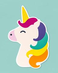 Cute unicorn with rainbow colored hair