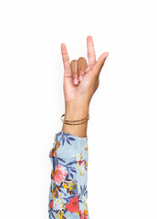 Hand gesturing the i love you hand sign