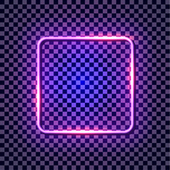 Vector Neon Ultraviolet Frame, Glowing Border Isolated on Dark Background.