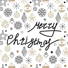 Christmas cards and Happy new year 2019. Holiday vector illustration with inscription compositions, snowflakes and Christmas toys. Christmas sale. Vintage Holiday Label