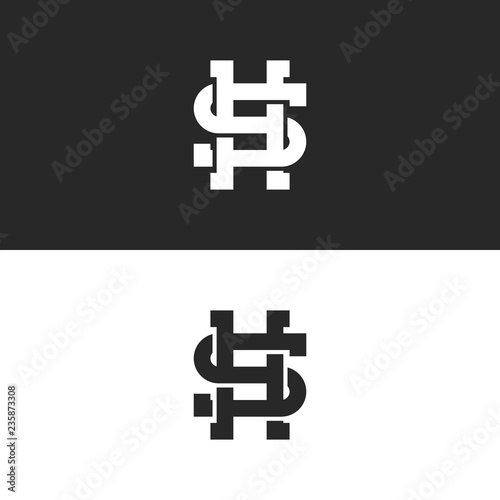 stylish monogram sh or hs letters logo overlapping lines style weaving two letters s and