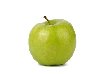 green fresh apple on white background