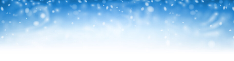Blue shiny winter banner with snow, wind and blizzard.