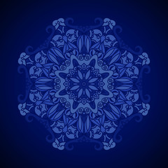 Vector ornamental background. Royal blue texture. Ethnic design template.