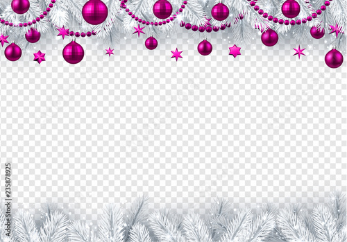 christmas and new year transparent background with fir branches and pink christmas balls